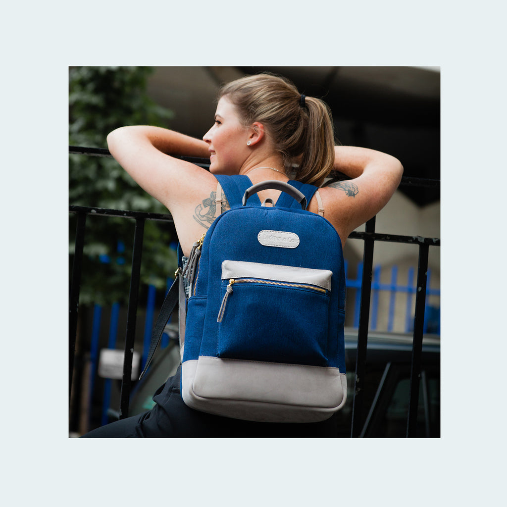Denim Backpack on woman - Royal Blue with Grey Leather