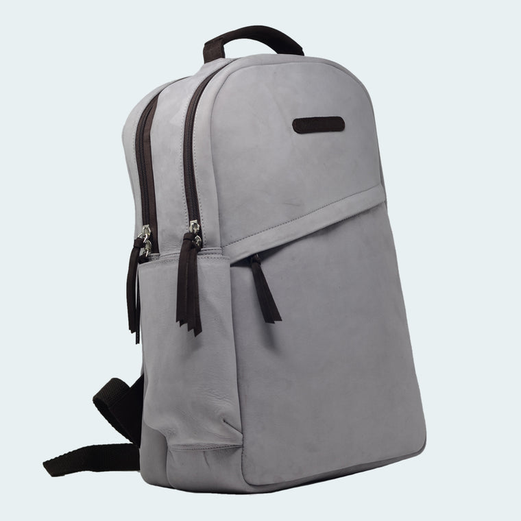 Leather Backpack - Signature Grey - With Model