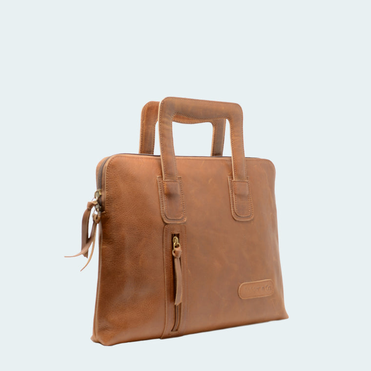 Leather Carryall Bag - Tawny Brown - Interior