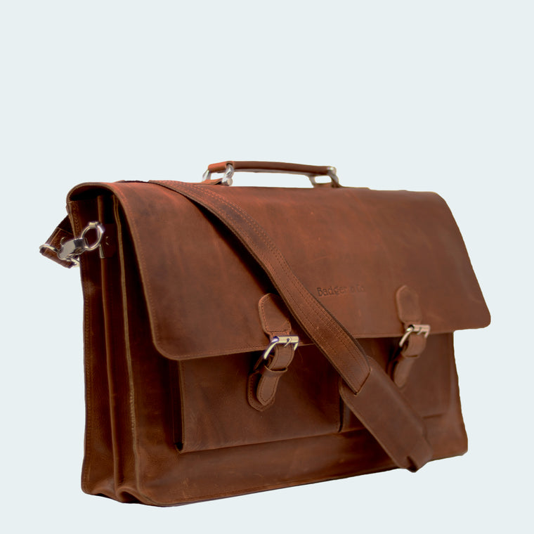 Leather Craftsman Briefcase - Cognac Brown - With Model