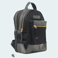 Denim Backpack - Black with Black Leather - Side view