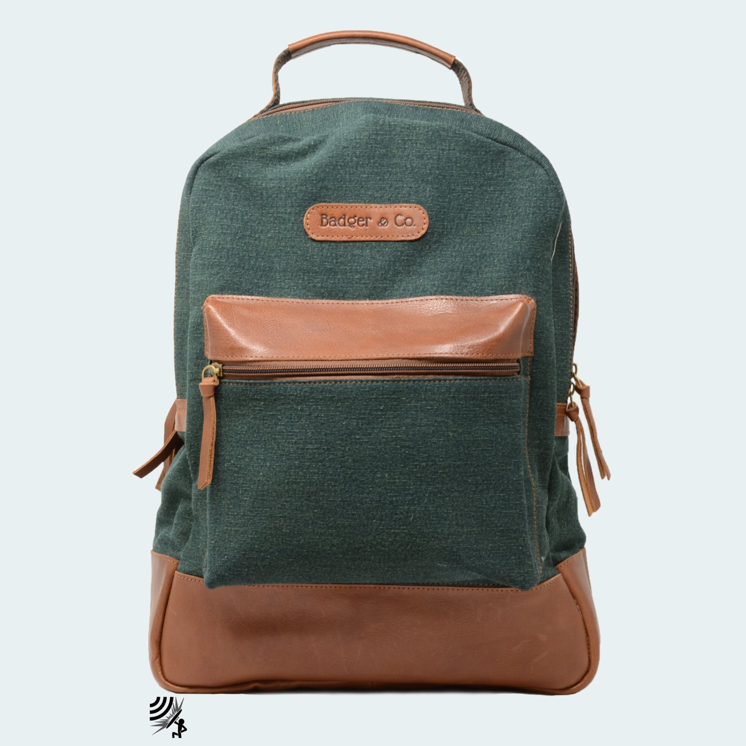 Denim Backpack - Forest Green with Cognac Leather