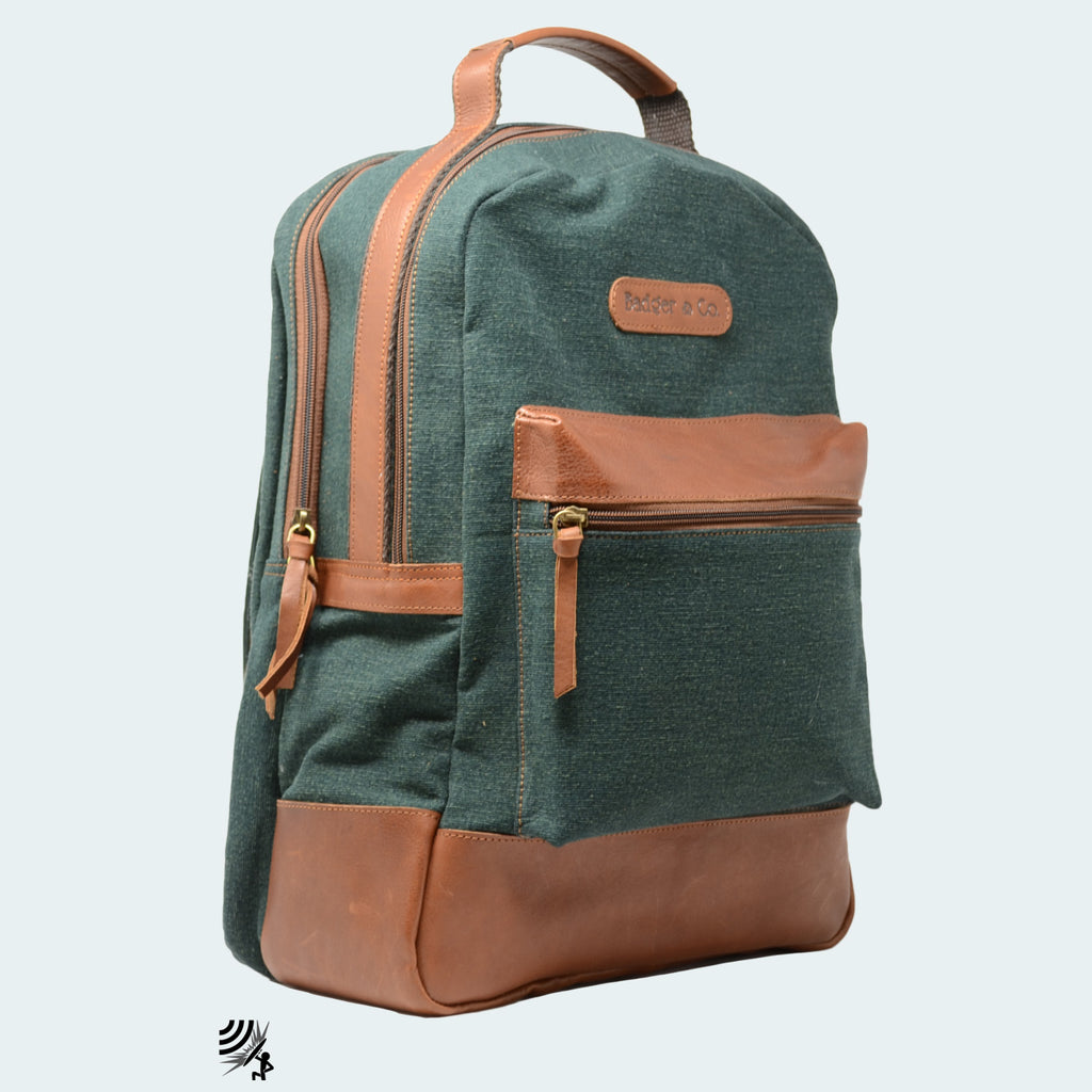 Denim Backpack - Forest Green with Cognac Leather - Side view