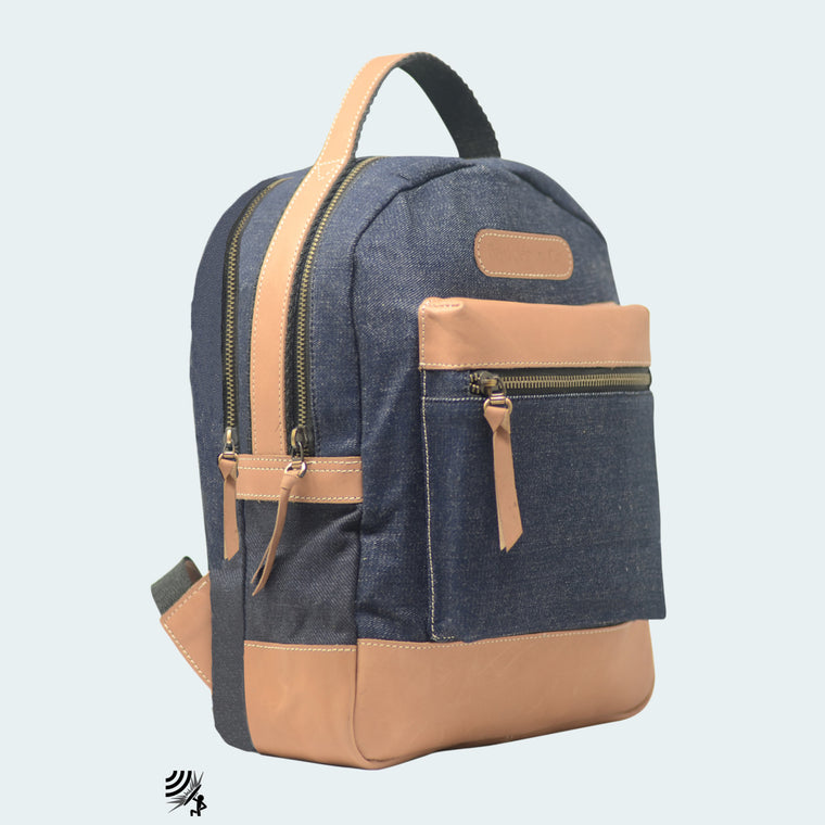 Denim Backpack - Royal Blue with Tan Leather - Side view