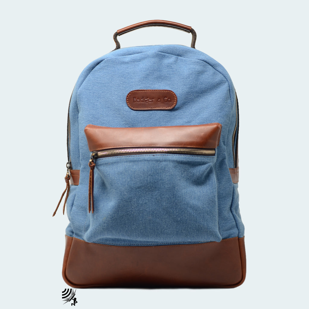 Denim Backpack - Sky Blue with Cognac Brown Leather