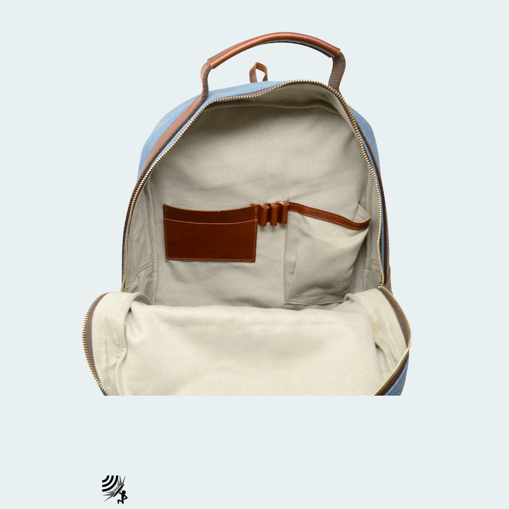 Denim Backpack - Sky Blue with Cognac Brown Leather - Interior