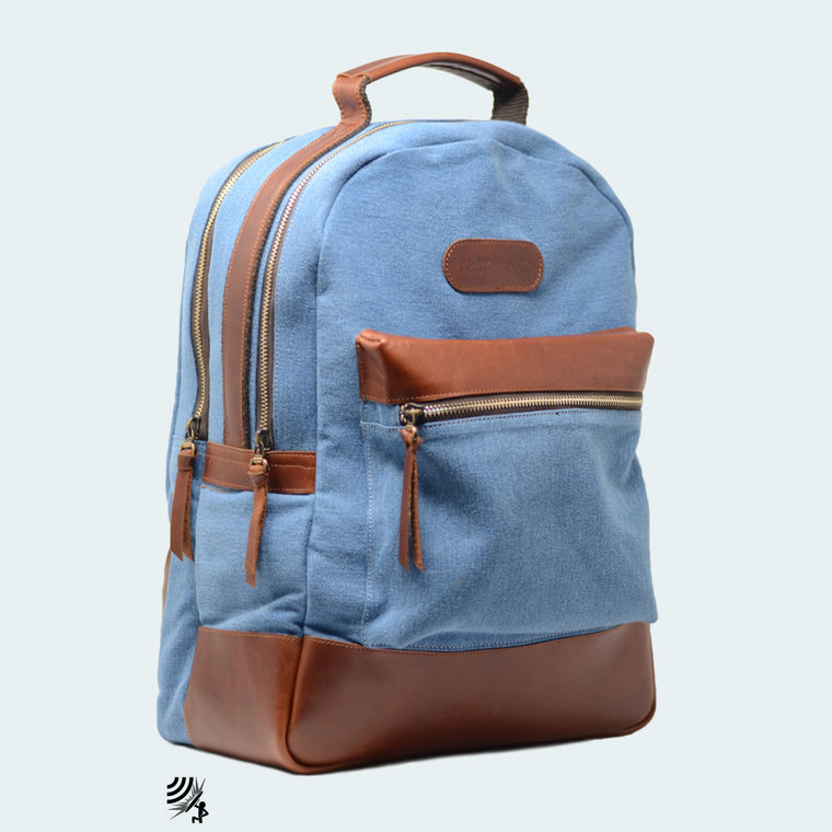 Denim Backpack - Sky Blue with Cognac Brown Leather - Man on binoculaurs