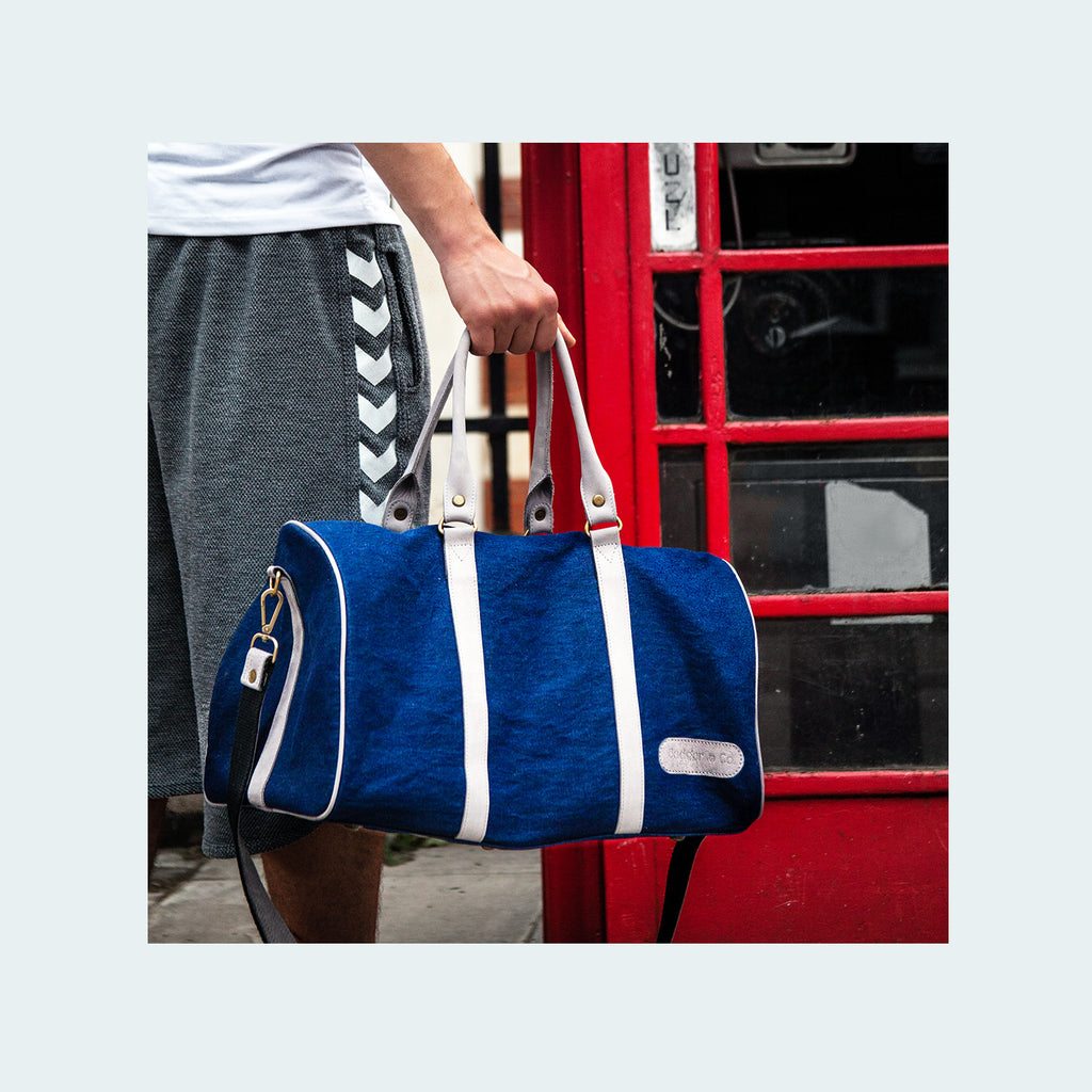Denim Duflle Royal Blue & Grey- Lifestyke