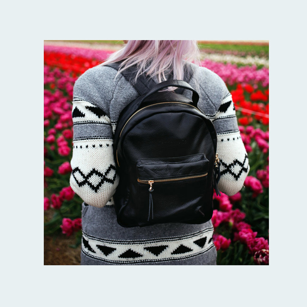 Limited Leather - Mini Backpack - Black - On back with flowers