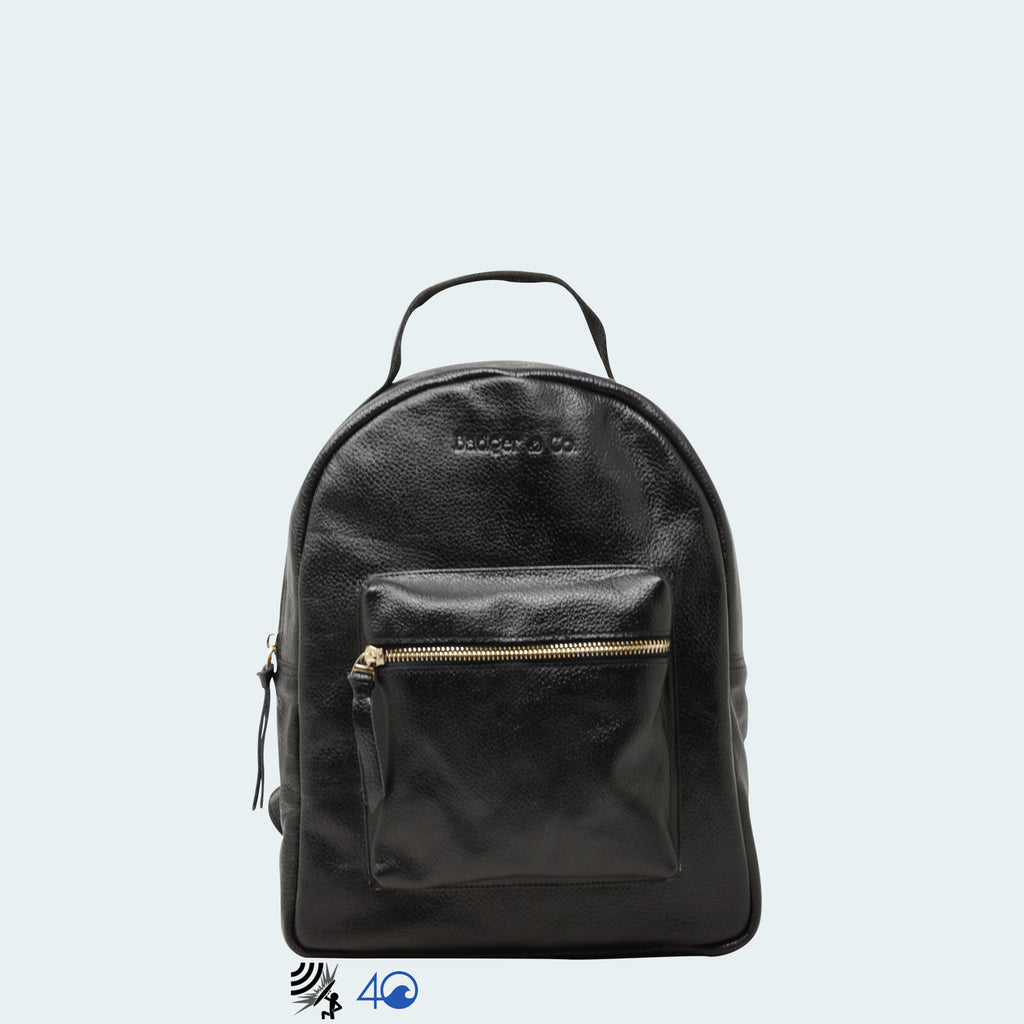 Mini Backpack - Black Leather