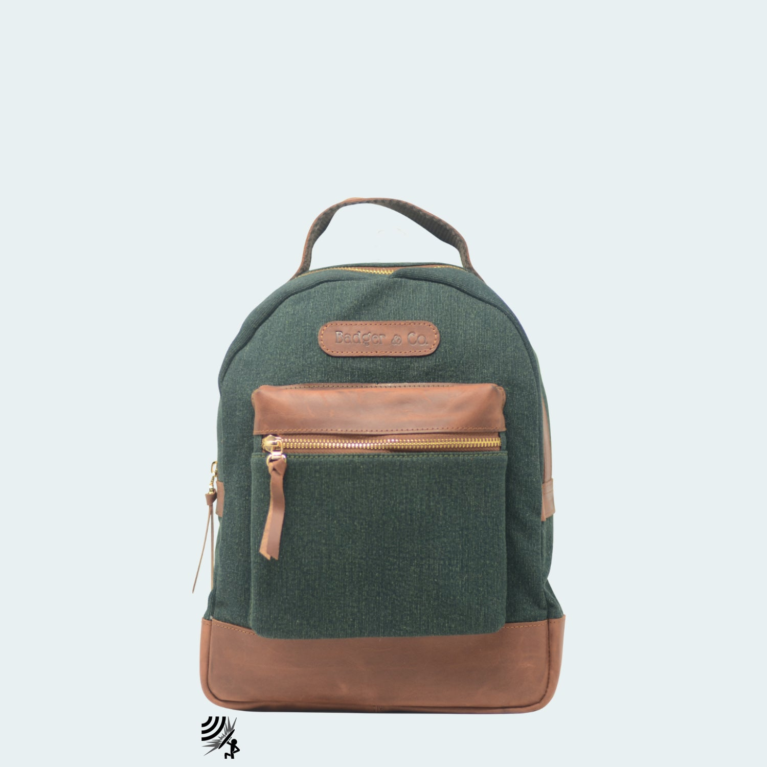 Mini Denim Backpack - Forest Green with Cognac Leather