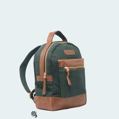 Mini Denim Backpack - Forest Green with Cognac Leather - Side view