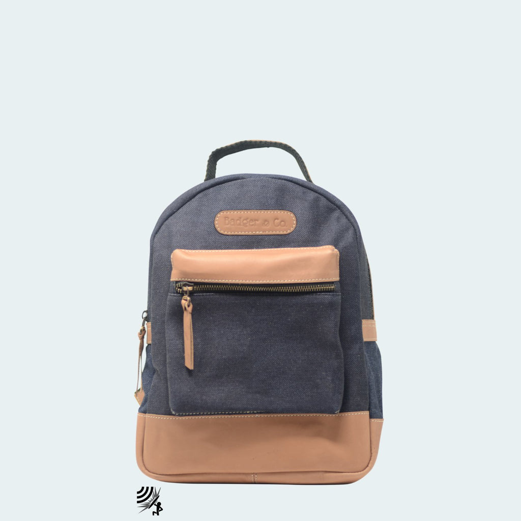 Mini Denim Backpack - Blue with Tan Leather