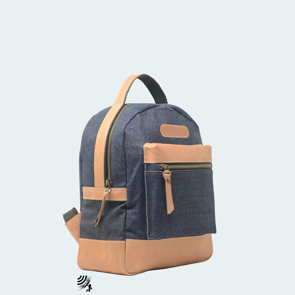 Mini Denim Backpack - Blue with Tan Leather - Side view