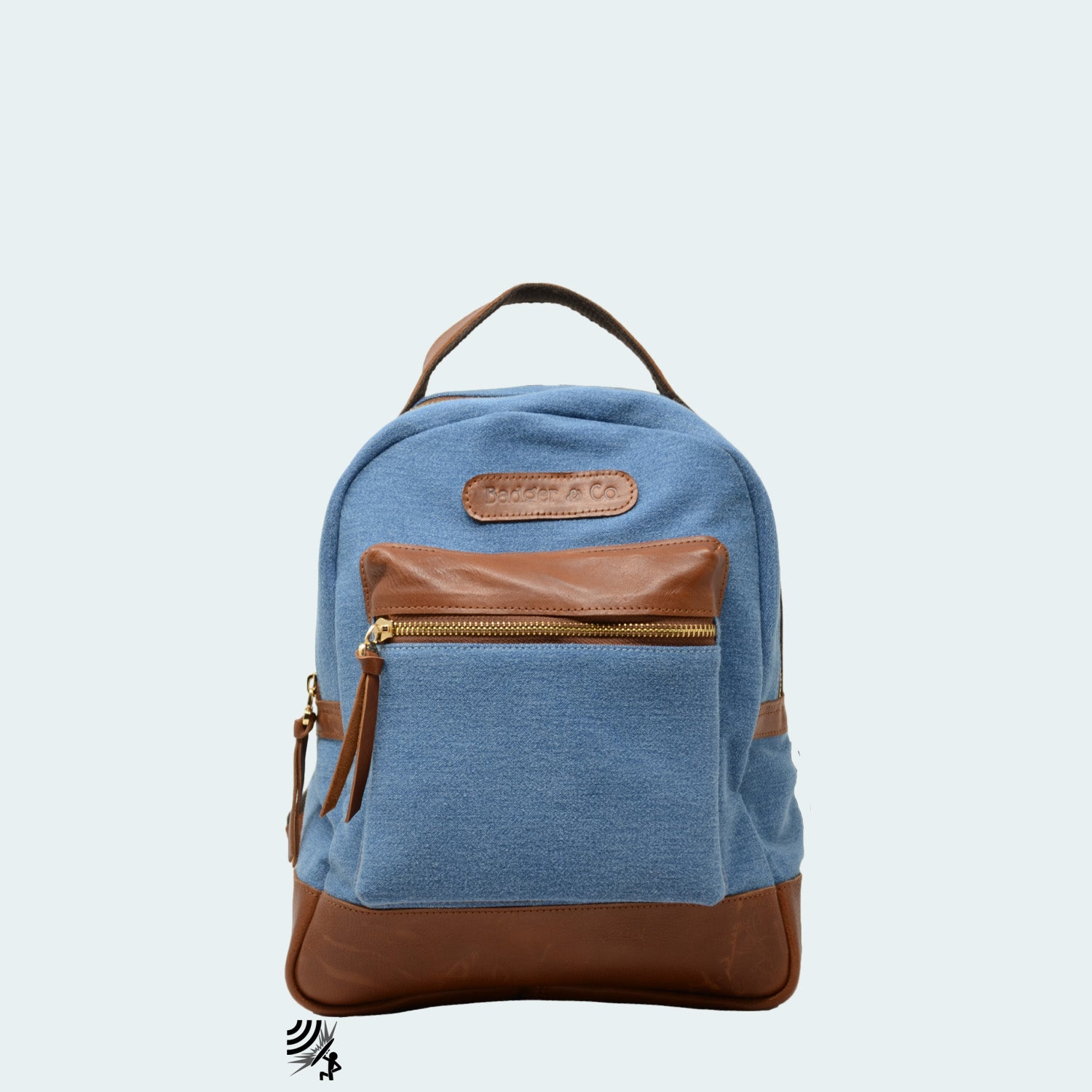 Mini Denim Backpack - Sky Blue with Cognac Brown Leather