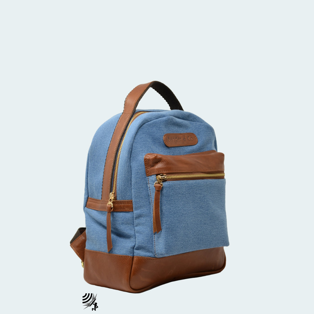 Mini Denim Backpack - Sky Blue with Cognac Brown Leather - Side view