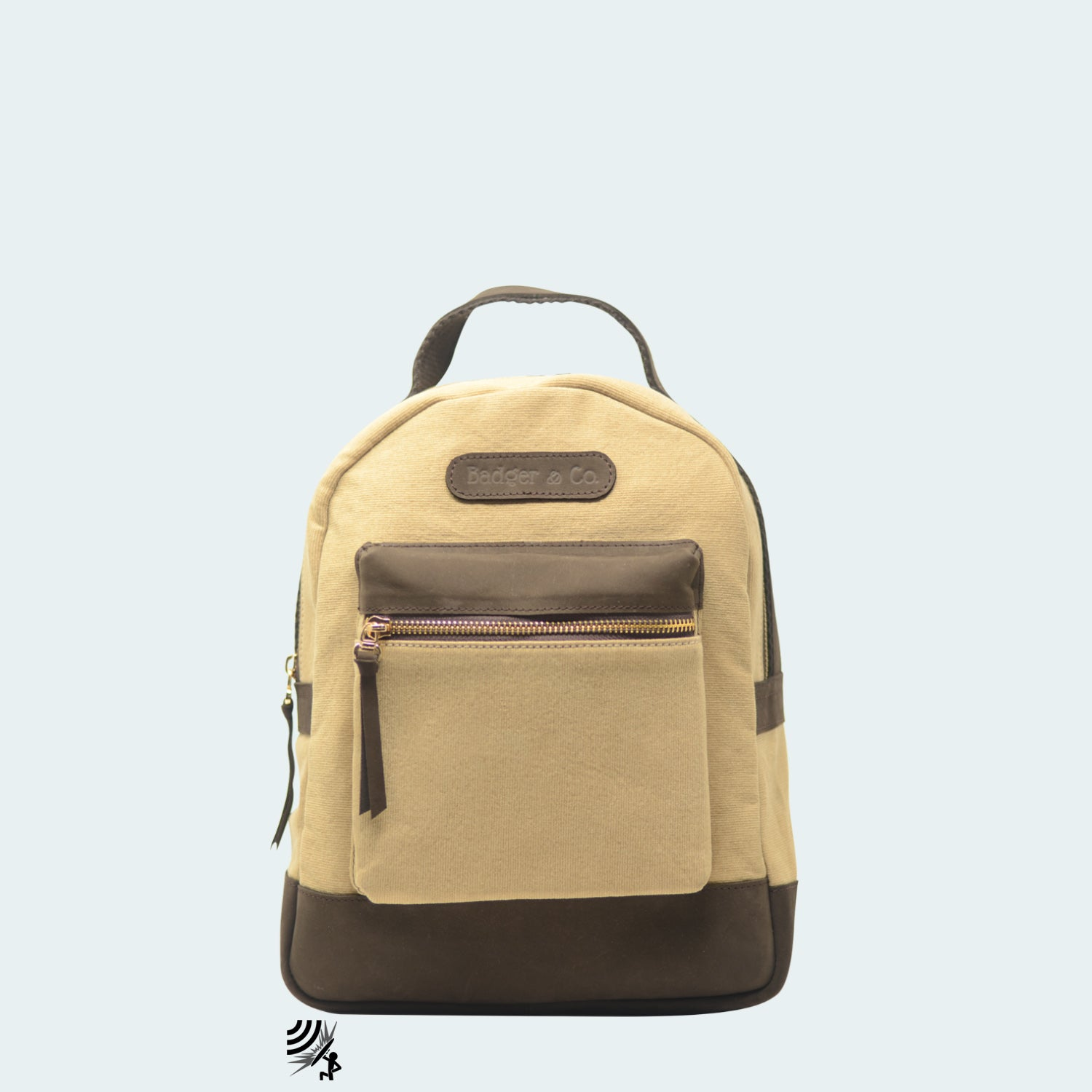 Mini Denim Backpack - Tan with Hickory Brown Leather