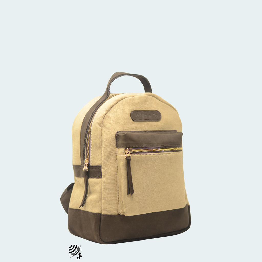 Mini Denim Backpack - Tan with Hickory Brown Leather - Side view