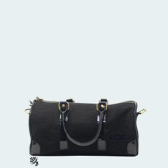 Mini Denim Duffle - Black with patent leather