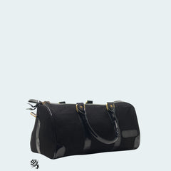 Mini Denim Duffle - Black with patent leather - Side