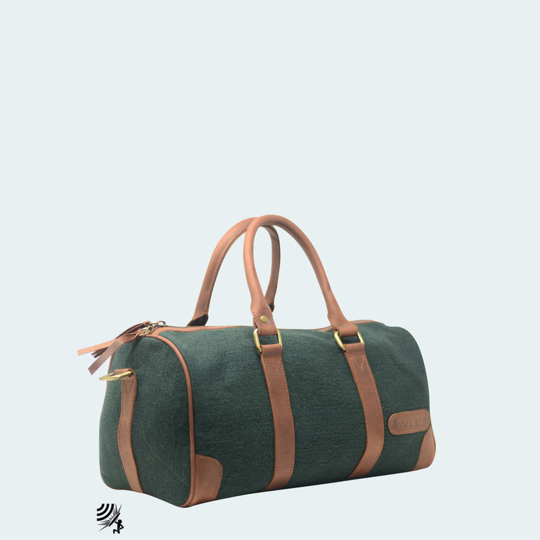 Mini Denim Duffle - Green with cognac leather