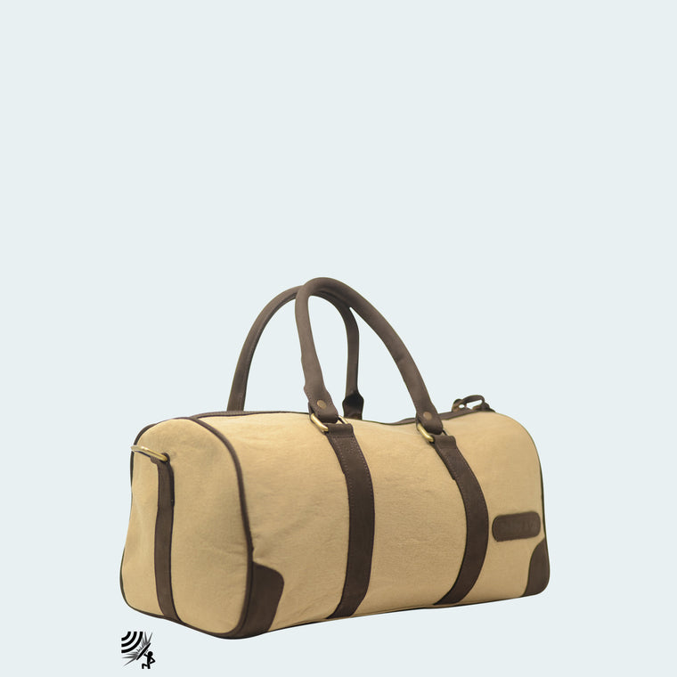 Mini Denim Duffle - Tan with hickory leather