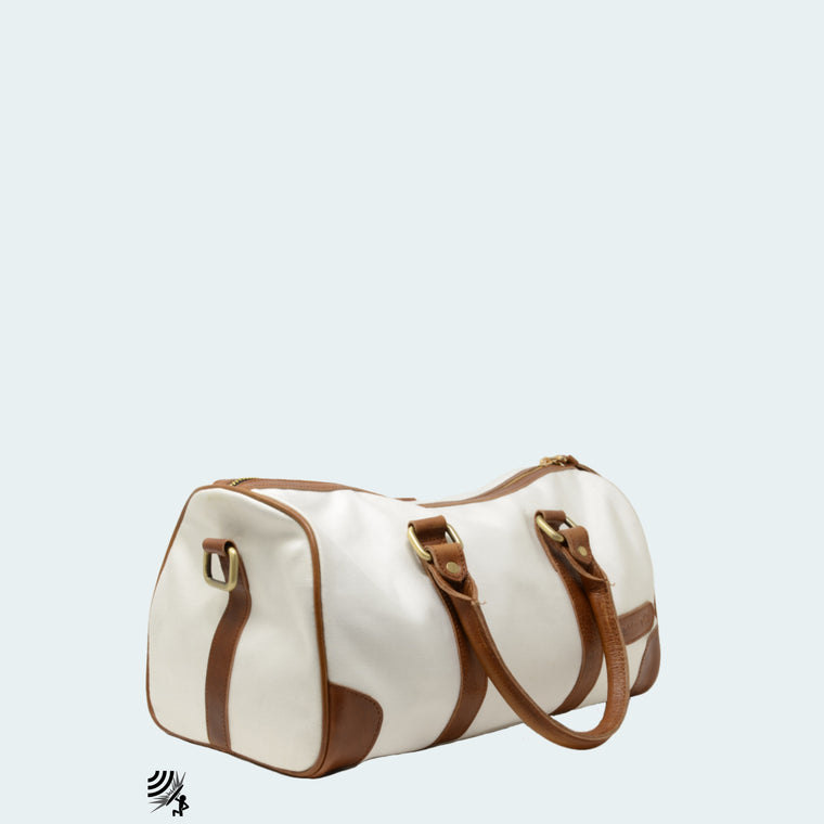 Mini Denim Duffle - White with cognac leather - Side