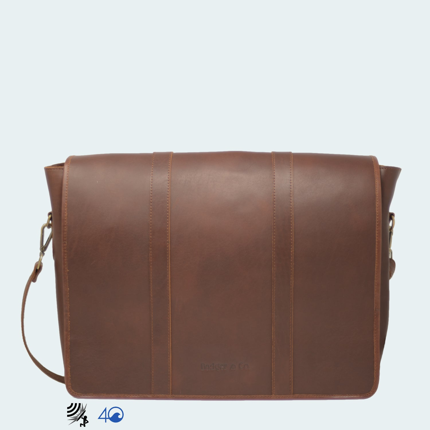 Leather Messenger Bag - Cognac