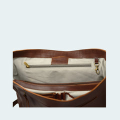 Leather Messenger Bag - Cognac - Interior