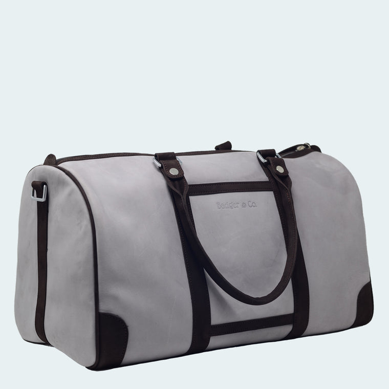 Leather Duffle - Signature Grey - With Model