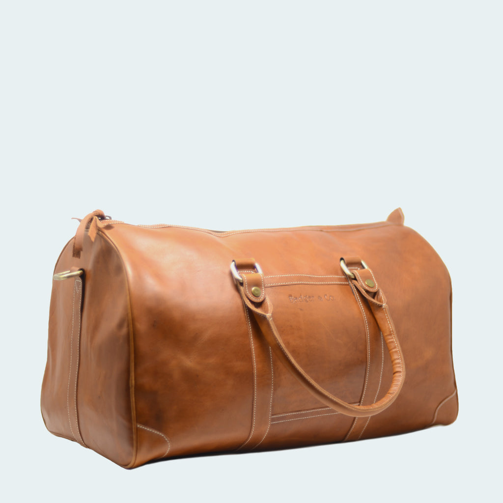 Leather Weekender Duffle Tawny - Side