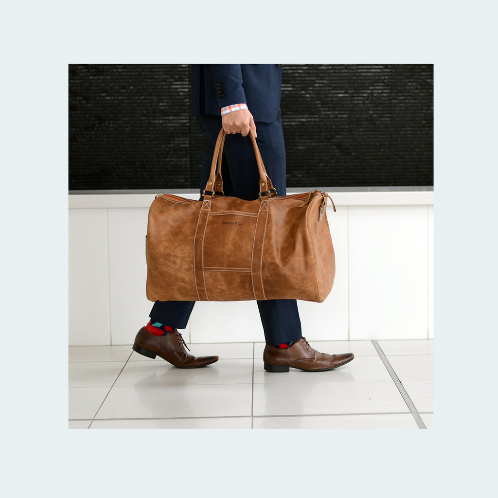 Leather Weekender Duffle Tawny - Lifestyle