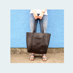 Leather X-Large Tote - Classic Black - With Model