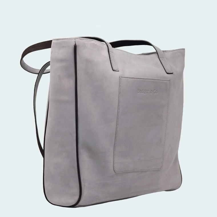 Leather X-Large Tote - Signature Grey - On Model