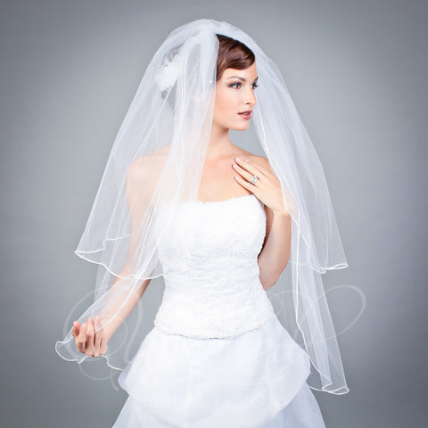 2 tier illusion fingertip veil