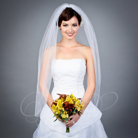 1 tier Illusion fingertip length veil with cut edge