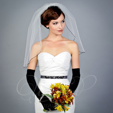 1 tier illusion shoulder length veil with beaded comb