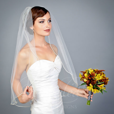 1 tier Illusion elbow length veil with cording edge