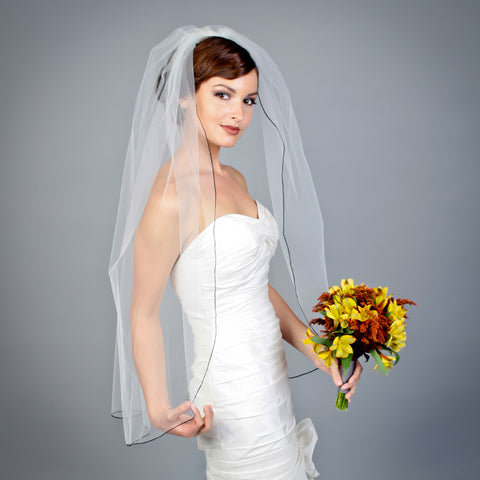 1 tier illusion fingertip length veil