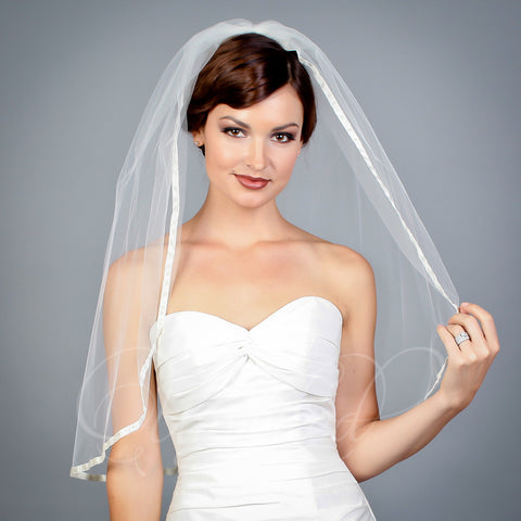 1 tier illusion elbow length veil