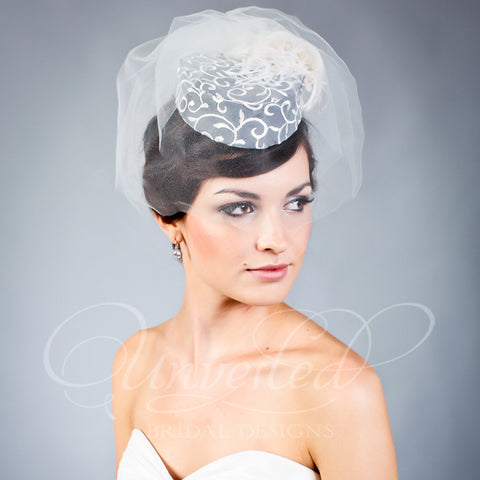 Low brim bridal pill box hat
