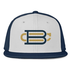 White with Navy Blue Front Fitted BC Hat