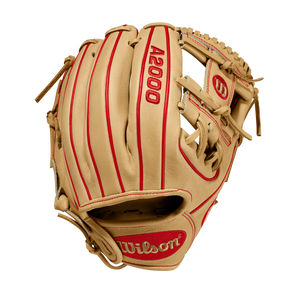 "2020 A2000 DP15 11.5"" - Blonde/Red - Wilson's Pedroia Fit™ Infield Baseball Glove"