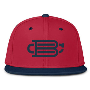 Red with Navy Blue Bill Fitted BC Hat