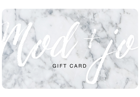 gift card, holiday gift card from Mod + Jo