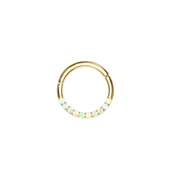 14k Opal Hoop - Front Facing