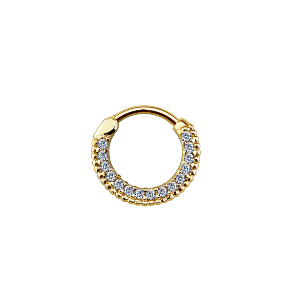 14k Pave and Beaded Hoop - Front Facing