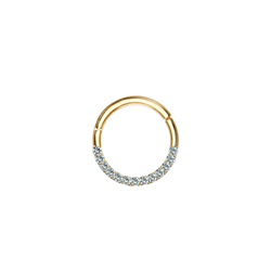 14k Pave Hoop - Front Facing