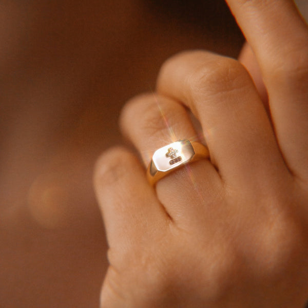 French Love Poem Signet Ring