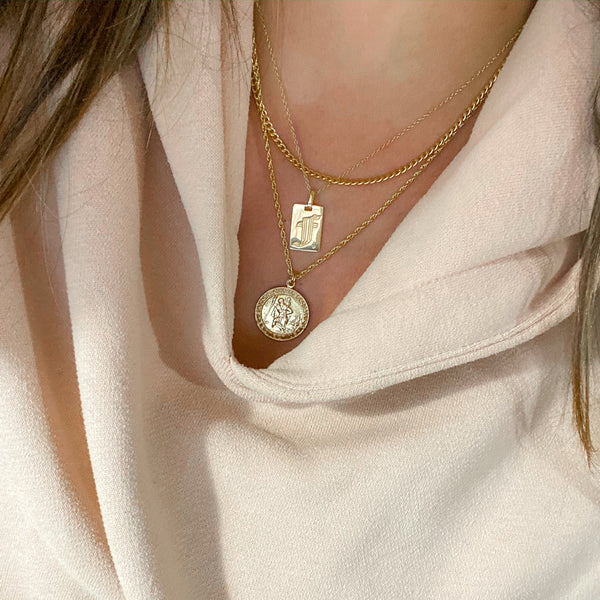 Halley + Old English Initial +St. Christopher Necklace Set - NECKLACES - MOD + JO
